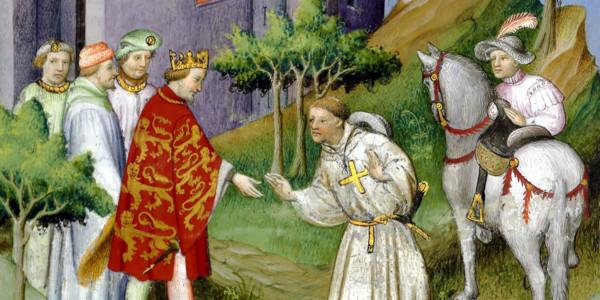 Frontespizio del libro di Jean de Mandeville sulle meraviglie del mondo: la partenza di Jean de Mandeville incoraggiato dal re d'Inghilterra.