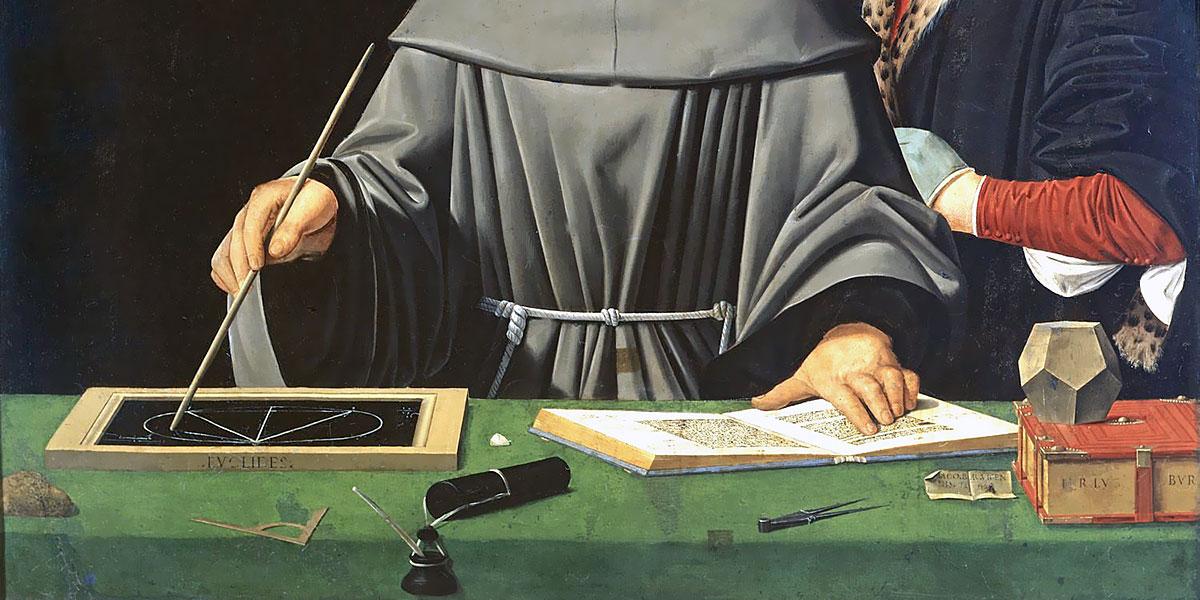 Particolare del ritratto di Luca Pacioli (1495), attribuito a Jacopo de' Barbari