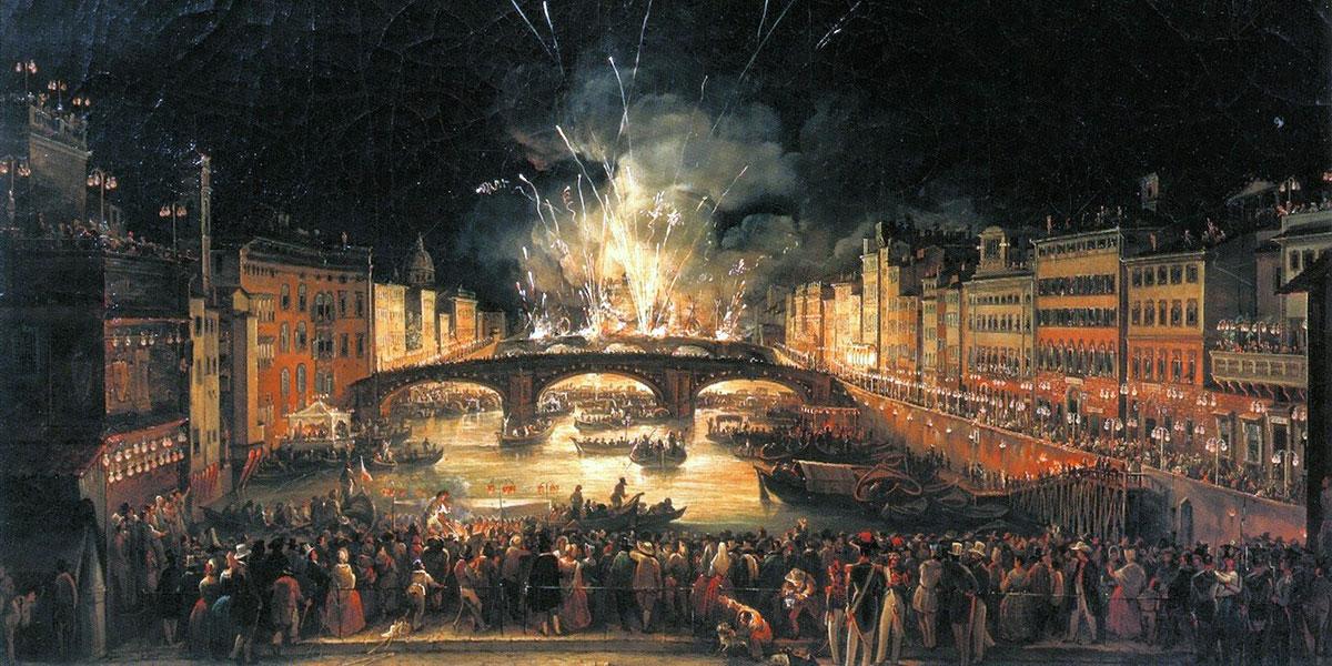 Giovanni Signorini. I fuochi d'artificio sul Ponte alla Carraia per la festa di San Giovanni [1843]