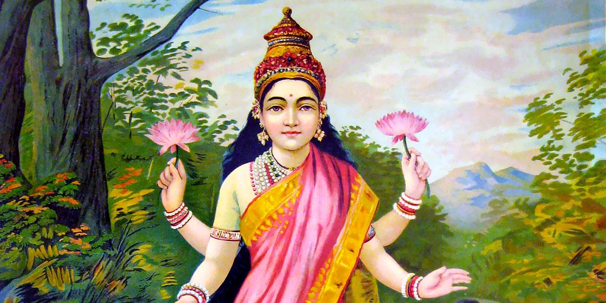 Lakshmi, the goddess of wealth. Raja Ravi Varma