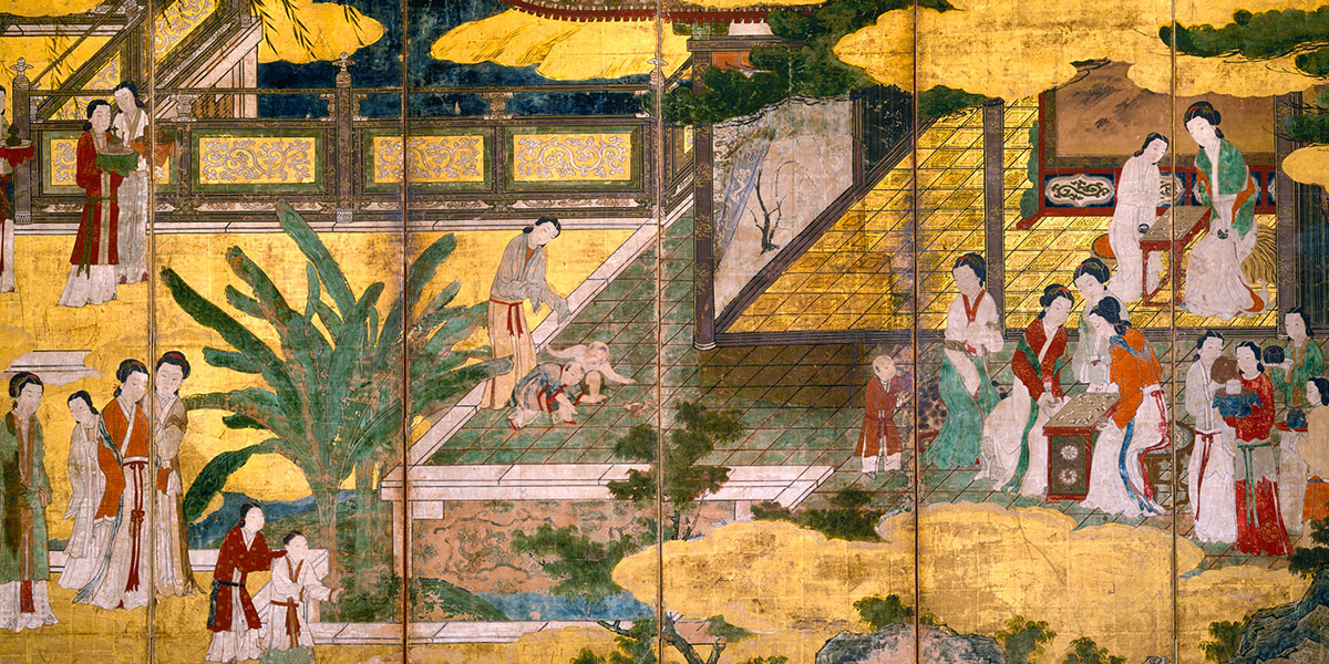 Chinese Women and Children in a Palace Garden. Kano Eitoku