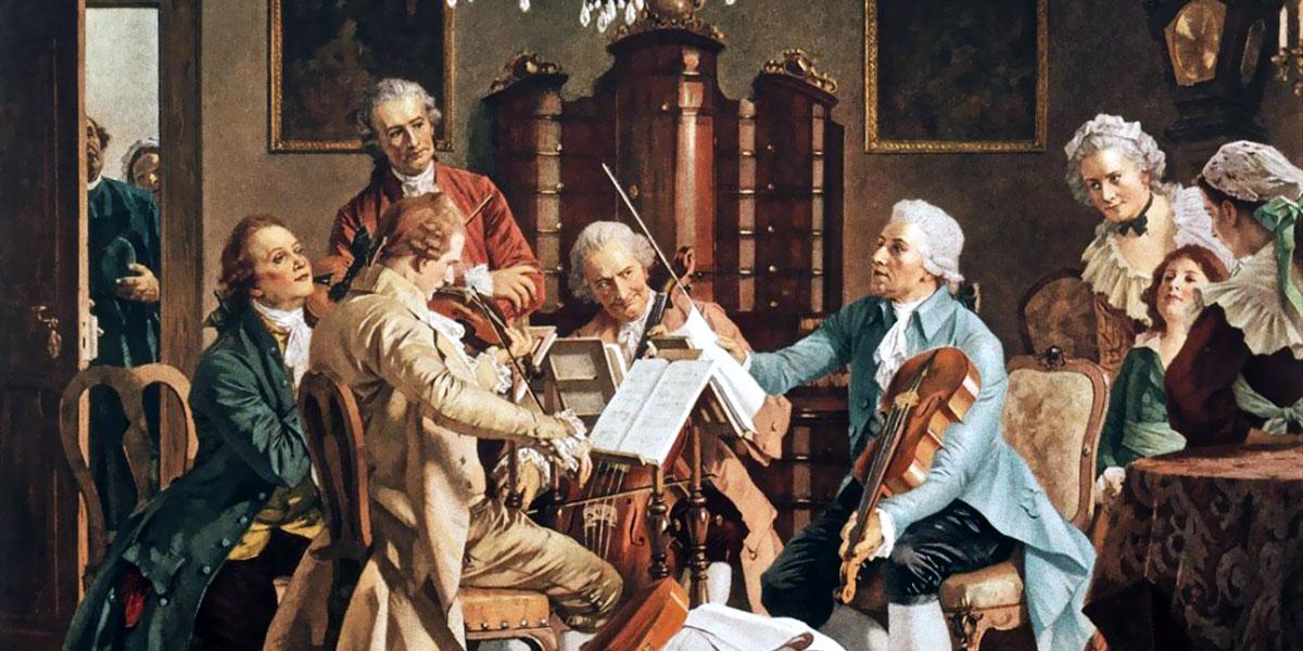 Joseph Haydn playing string quartets