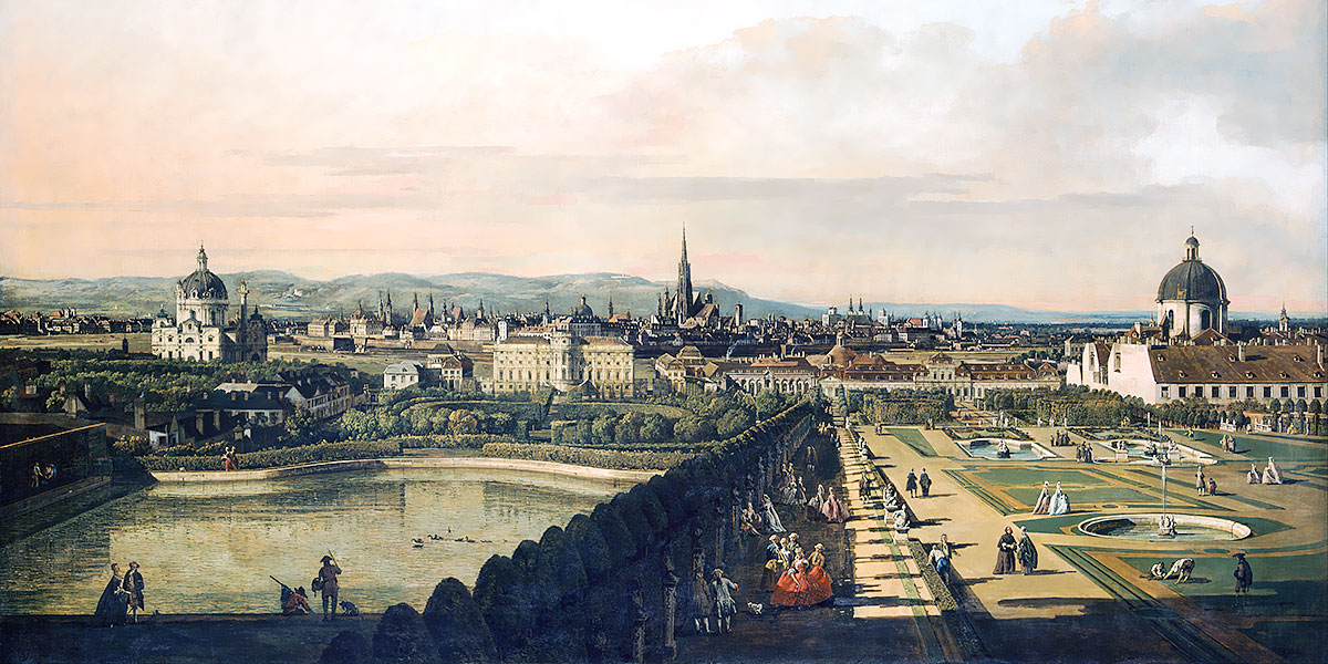Bernardo Bellotto, il Canaletto. View of Vienna from the Belvedere