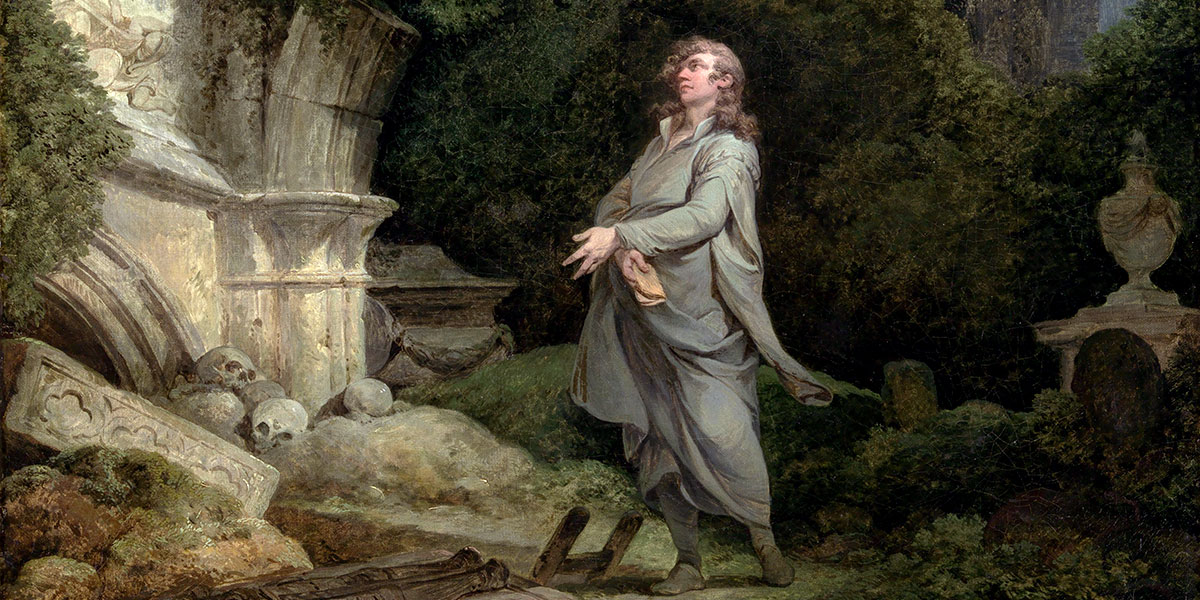 """""""A Philosopher in a Moonlit Churchyard (1790)"""" di Philip James de Loutherbourg (1740–1812)"""